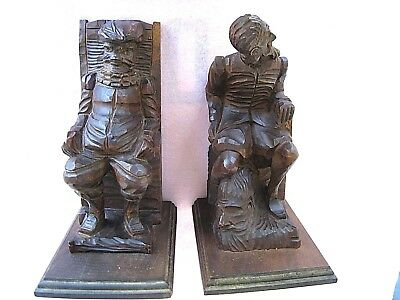 """Bookends......Large Hand Carved.....Heavy and Nice.....8 1/2"""" High......Germany"""