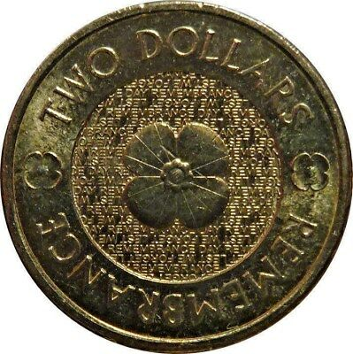 Australian Two Dollar $2 Coin - 2012 - POPPY REMEMBRANCE - circulated