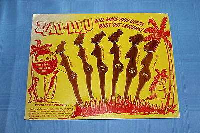 1960's Zulu-Lulu Swizzle Sticks Retro Bar Accessories