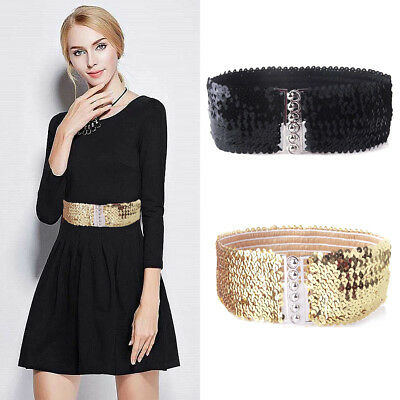 Lady Women Cinch Wide Tie Waist Band Sequins Elastic Stretch Shiny Belt Fashion