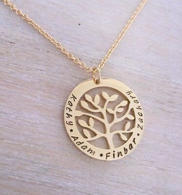 Hand Stamped Tree Of Life Family Necklace Pendant Personalised Gold Plated