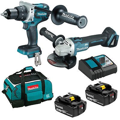 Makita 18V Brushless Angle Grinder Hammer Drill Driver 5.Ah Battery Kit AU WARRA