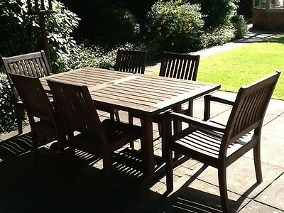 Gloster  garden teak  table, chairs and cushions in teak