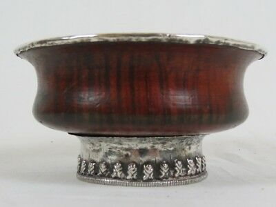 Antique Tibetan Burlwood Silver Decoration Tea Bowl