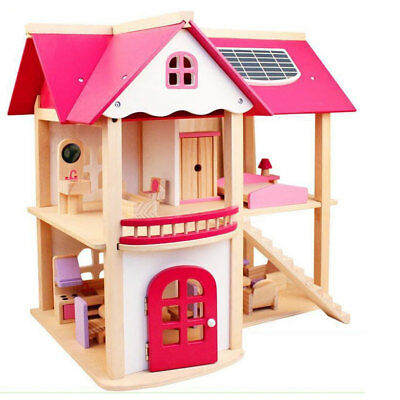 Large Child Kids GIFT Wooden Toy 2 LEVEL DOLL HOUSE + FURNITURE Pretend Play ...