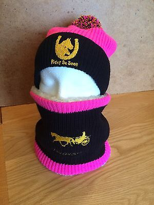Equestrian Job Lot Rider Be Seen Hat Cover With Matching Snood/neck Warmer.