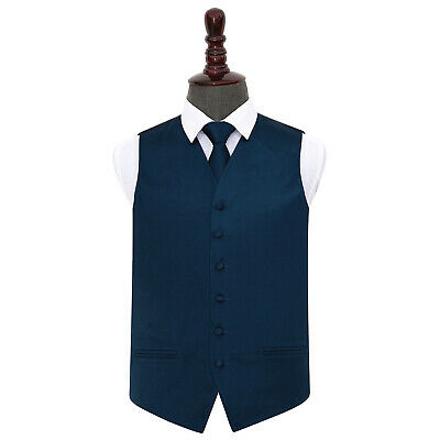 DQT Satin Plain Solid Navy Blue Mens Wedding Waistcoat & Tie Set S-5XL