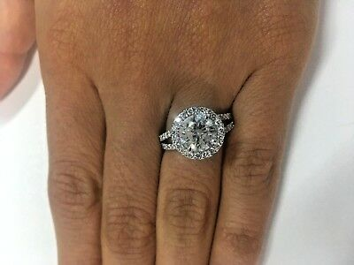 Diamond Engagement Ring 14k White Gold Halo Round Cut 3 Carat Ct Color D SI1