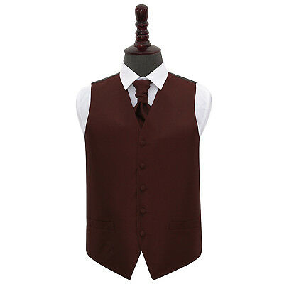 DQT Greek Key Patterned Burgundy Mens Wedding Waistcoat & Cravat FREE Pin