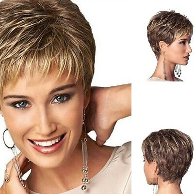 Vogue Womens fashion Short Wavy mixed Blond Brown NaturalCurly Hair Full Wigs