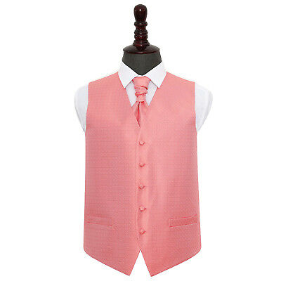 DQT Greek Key Patterned Coral Mens Wedding Waistcoat & Cravat FREE Pin