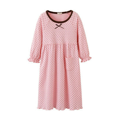 Pink Girls Pyjamas Long sleeve Nightwear Cotton Night Dress Lingerie UK Stock