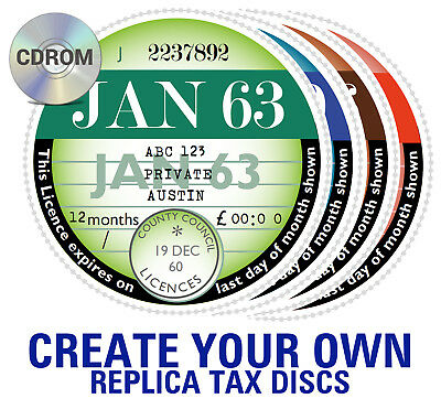 REPRODUCTION REPLICA ROAD TAX DISC 1963-1987 Customise, design + print your own