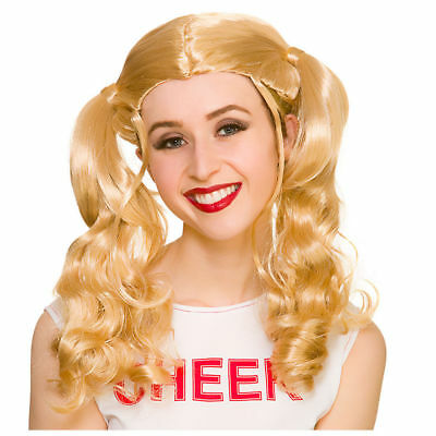 Adult CHEERLEADER Wig High School Musical School Girl Blonde USA Fancy Dress WIG