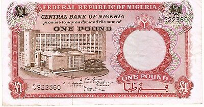 1967 Nigeria 1 Pound ND Issue Circulated Bank Note Pick-8!!