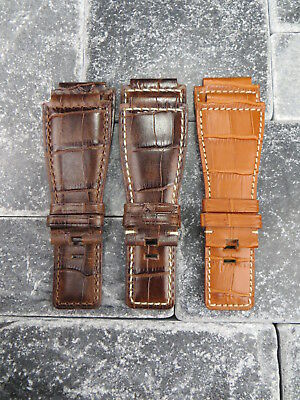 Bell & Ross Grain Leather Strap Black Watch Band BR-01 BR-03 Antique Brown x1