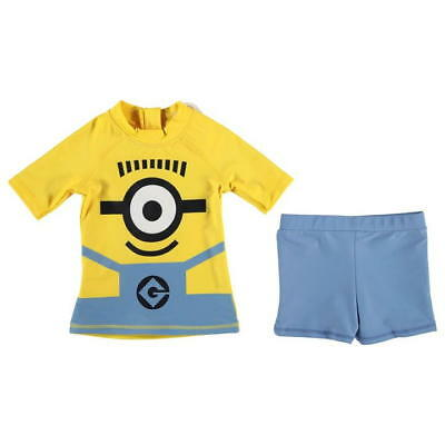 Boys Minions 2 piece Swimset Swimsuit Swimming Top and Trunks Shorts~Ages 2-8