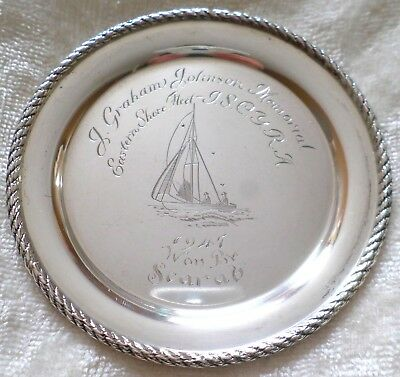 1947 Sterling Silver Winners Trophy Plate Coaster Tray Nut Dish Scarab Sailboat