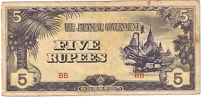 1942-1944 Burma 5 Rupees ND Issue Japanese Government Circulated Note Pick-15!!