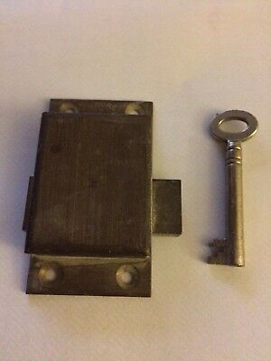 "Vintage 2 lever solid brass lock & Key.cabinet,cupboard,64mm(2.5"")Victorian/old"