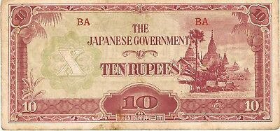 1942-1944 Burma 10 Rupees ND Issue Japanese Government Circulated Note Pick-16!!