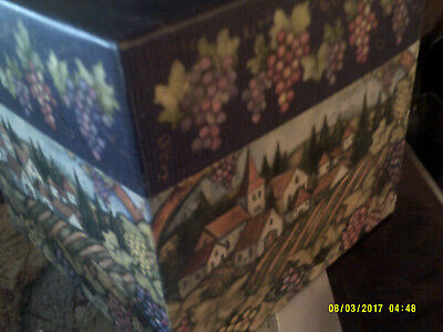 """2 Decorative storage boxes with grapes large 9"""" x 9"""", small 6 &1/4"""" x 6 & 1/4"""""""