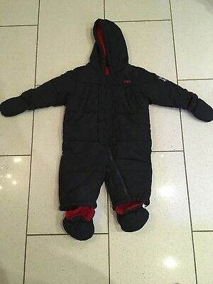 Baby Boys Marks & Spencer Navy Padded Snow Suit Pram Suit 6-9 Months