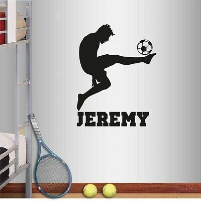 Wall Decal Football ball Player Personalized Custom Name Soccer Sport M1720