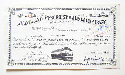Atlanta & West Point Railroad Stock Certificate 1956