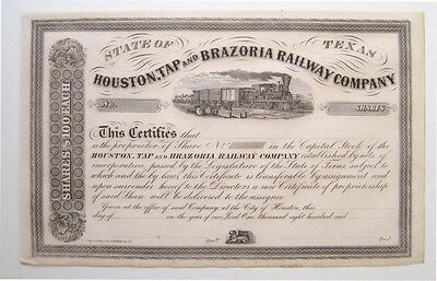 Houston Tap & Brazoria Texas Railroad Stock Cert 1860s