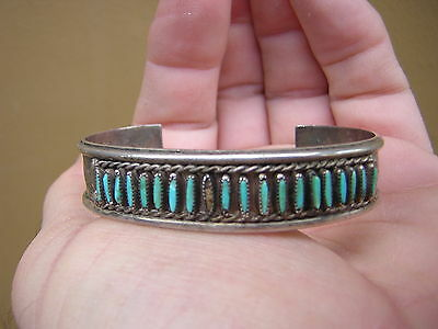 Rare Stan Sanchez Native American Indian Sterling Silver + Turquoise Bracelet