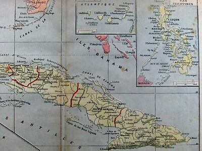 Spanish-American War map 1898 Cuba Havana Caribbean French newspaper rarity