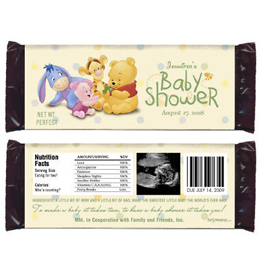 12 Baby Pooh Baby Shower Favors Personalized Candy Wrappers