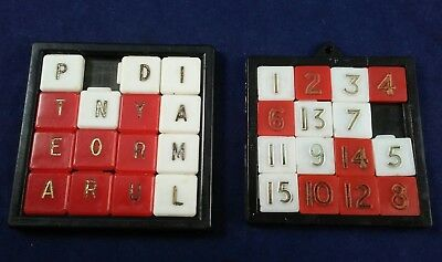 VINTAGE 15 PUZZLE Numbers & Rare Letters lot of 2 Slide Puzzle Game old toy