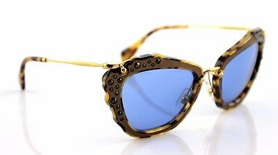 c4a07f99d1ac $550 Genuine MIU MIU Brown Light Havana Blue Crystal Sunglasses MU 04QS  DHF-0A2