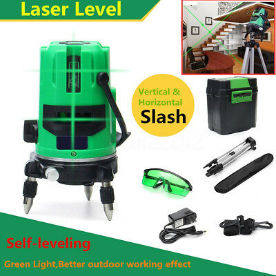 Green Laser Level 2 Line 2 Points 360° Rotary Cross Outdoor Self-leveling Tripod