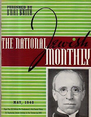 1940 National Jewish Monthly May - Polish Jews go to deaths; Jews,Arabs march