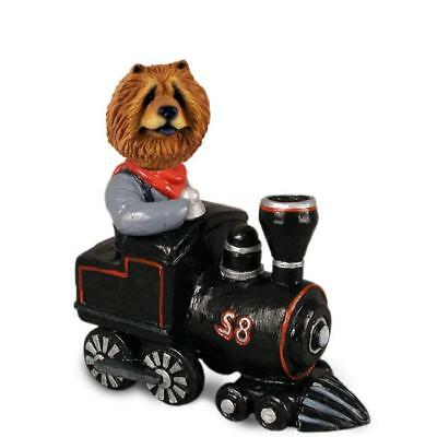 Red Chow Chow on a Train Collectible Resin Figurine Statue