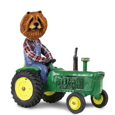 Red Chow Chow on a Tractor Collectible Resin Figurine Statue