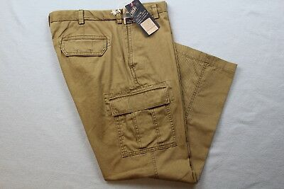 ROUNDTREE /& YORKE WASHED UTILITY CARGO PANTS MENS OLIVE COLOR SIZE 44X34 NWT