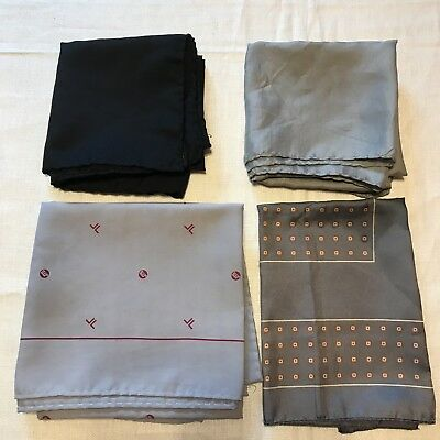 4 Scarves Grey Silver JTS Hand Rolled Silk Gray Black Square Vtg Scarf Lot