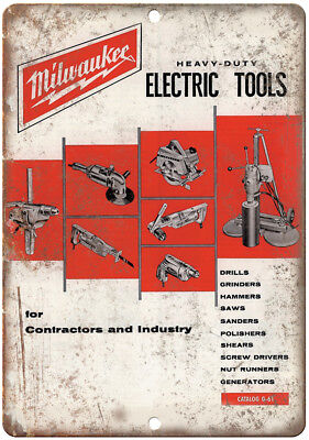 "Milwaukee Electric Power Tools Workshop Ad - 10"" x 7"" Retro Look Metal Sign"