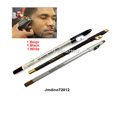 3pcs Barber Pencil for outlining before shave/trim-1 D.Beige, 1 Black, 1 White