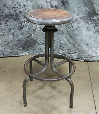 Vintage Industrial Stool with Masonite Seat & Curved Metal Legs Steampunk