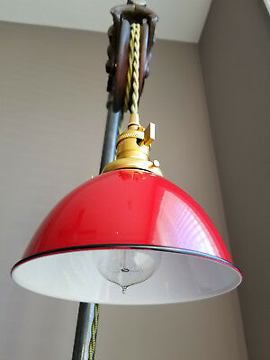 """Red Porcelain Enamel Shade: 7"""" Industrial Dome, 2-1/4"""" fitter, Metal Lampshade"""
