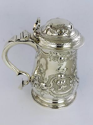 Superb EMBOSSED GEORGIAN SILVER QUART TANKARD, London 1749 chased drinking 800g