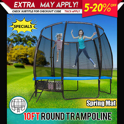 10FT New Trampoline Round with Spring Mat Safety Net Ladder