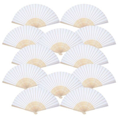 Chinese Style White Folding Bamboo Solid Fan Hand Paper Fans Wedding Party Decor