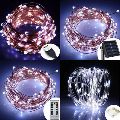 Battery/Solar/12V 2-50M 10-500 LED MICRO Silver Copper Wire Fairy String Lights