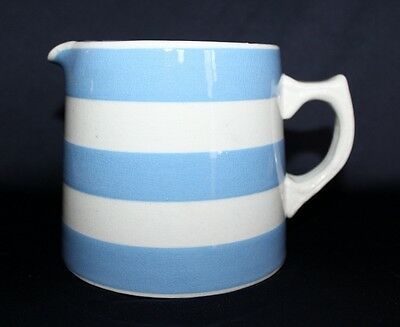 Vintage Aust Pottery FOWLER Milk Jug Creamy White Glazing With Blue Stripes